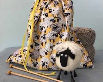 Large Knitting Project Bag - Sheep Print Fabric - Lewe the Ewe