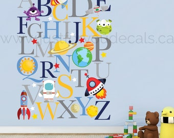 Space Wall Decal, Alphabet Nursery Wall Decal - Playroom Wall Decal - Educational Wall Decal - Play Room Wall Decal - Space Decals - 01-0042