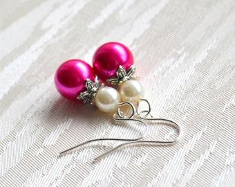 Hot pink Bridesmaid earrings Fuchsia bridesmaid jewelry Beaded jewelry Flower girl gift Flower girl jewelry Fuchsia weddings Pink gift