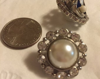 Faux Pearl and Rhinestone Clip Earrings.