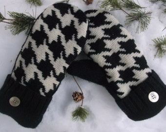Cozy Sweater Mittens, made from upcycled recycled sweaters, fleece lined, in black and off white houndstooth pattern