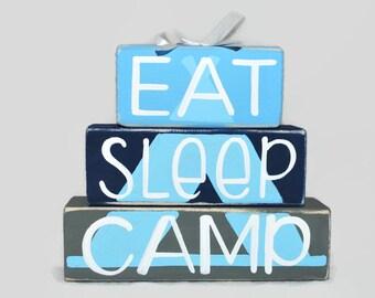 Eat Sleep Camp Tent Camping WoodenBlock Shelf Sitter Stack