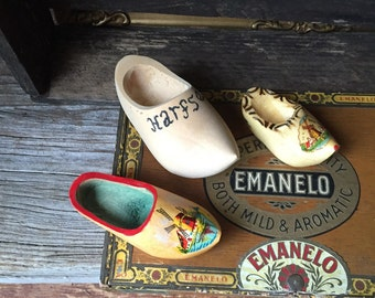 Set of 3 Wooden Shoes:  Vintage Dutch Wooden Shoes, Miniature Wooden Shoes Instant Collection, Souvenirs of Holland