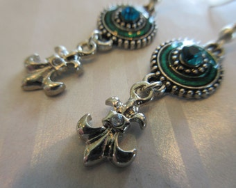 Handmade For You Blue and Green Rhinestone Medallions with French Fleur de Lis Charms Silver Beaded Earrings with Silver French Hooks E194