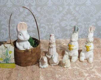 Plaster of Paris Bunnies; vintage chalk ware Easter rabbits
