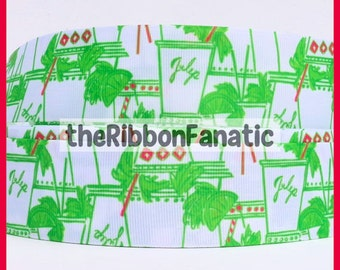 "5 yds 7/8"" Lilly Fabric Inspired Just Add Mint Julip Pink Green  Grosgrain Ribbon"