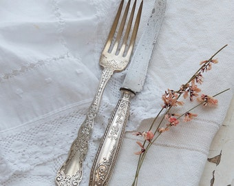 French Vintage Knife with Silver Plated Handles