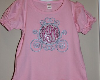 Princess Inspired Monogrammed Carriage Shirt for Infant, Toddler, Youth, and Adult