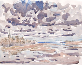 Roscoff sketch Bretagne original watercolor painting Brittany art Brittany watercolour wall art french art french watercolor home decor