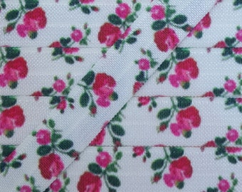 5/8 Rose on White Fold Over Elastic
