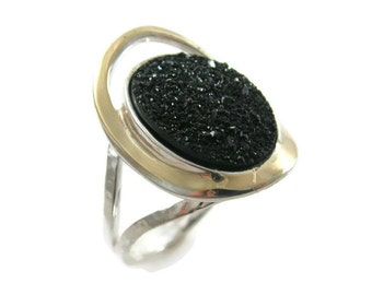 Sterling silver gold ring. Black Druzy ring. Silver ring. Exquisite stone ring. Rustic ring. Cocktail ring. Druzy ring. Gold Druzy ring.