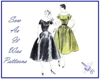 """1950s Vogue 8118 Flared Skirt Dress Scoop Neckline Short Kimono Sleeves Bow Ties Vintage Sewing Pattern Size 14 Bust 32"""" 83cm"""