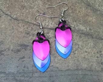Dragon Scale Drape Earrings Pink, Purple, Blue