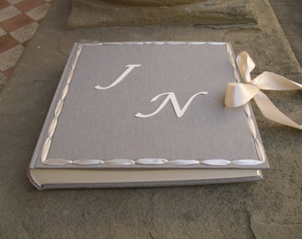 Wedding photo album 35x35cm personalized satin ribbon made in italy