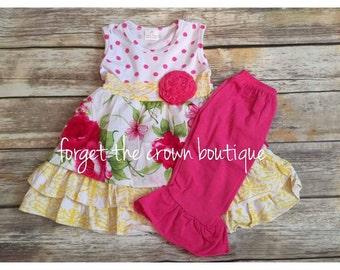 Boutique Girls 2pc floral garden tank dress tunic capris pants baby toddler ftcb1