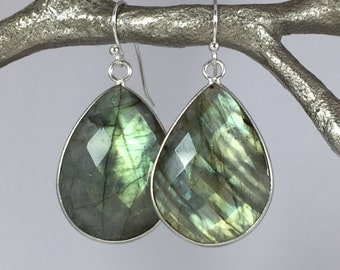 Natural Labradorite Earrings, Bezel Set Labradorite Gemstone Earrings, Drop Earrings,Set in Sterling Silver, Blue Fire Labradorite,
