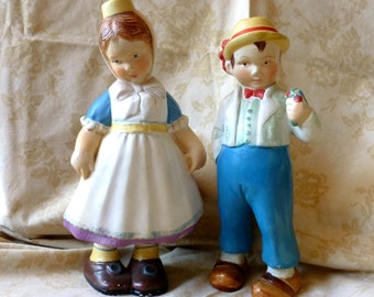 Vintage Large Coventry Ware German Boy and Girl Figurines, Collectable Chalkware Statues