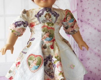 "Handmade Heirloom Delicate 18"" American Girl Doll Dress VINTAGE LINENS USED Angels Cherubs Highly Embroidered Lace"