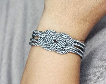 Gray Bracelet, Grey Knot Bracelet, Rope Bracelet, Nautical Rope Bracelet, Nautical Bracelet, Rope Jewelry, Rope Knot Bracelet, Knot Jewelry