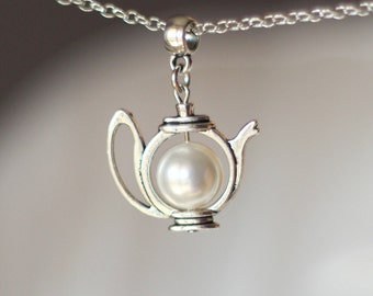 Teapot Necklace, White Pearl Teapot Necklace, Teapot Pendant, Pearl Teapot Jewelry, Teapot Jewelry,Teapot,Gift For Tea Lovers,Tea Party Gift