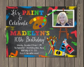 Art Party Invitation, Painting Party Invitation, Art Birthday Party Invite , Pottery Painting Party, Gender Neutral, DIY or Printed