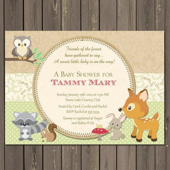 woodland forest animal baby shower invitations – frenchkitten, Baby shower invitations