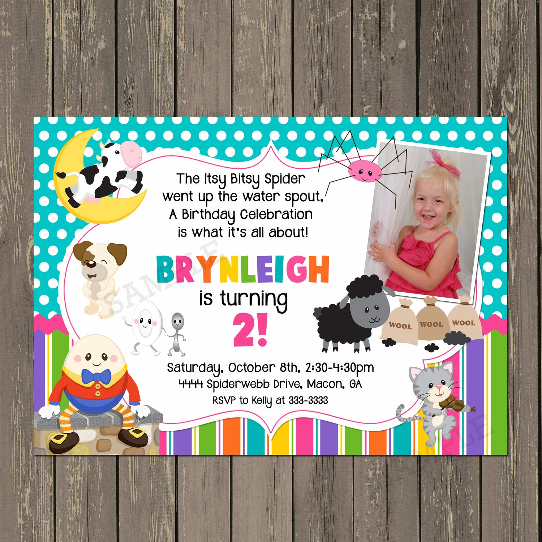 Nursery Rhyme Birthday Invitation Mother Goose Story Book
