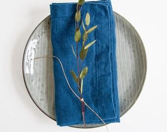 Set of 2 Blue Stone Washed Linen Napkins