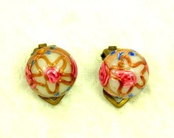Vintage White Wedding Cake Bead Earrings, Italian, Clip, 1930s