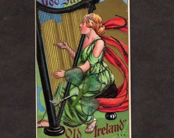 Ireland Postcard, Ireland, Irish Postcard, Vintage Postcard, Harp Postcard, Vintage Postcard, Old Ireland Postcard, Clover Postcard