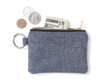 Keychain Coin Purse Wallet Zipper Pouch Denim