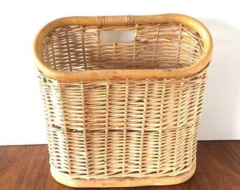 Vintage Wicker Magazine Basket