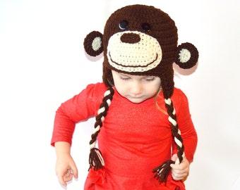 Kids Monkey Hat, Crochet Animal Hat, Toddler Monkey Hat, Baby Monkey Hat, Toddler Girls Hat, Infant Monkey Hat, Monkey Photo Prop Winter Hat