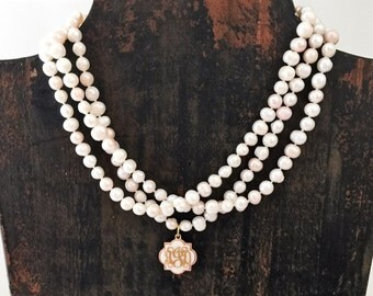Freshwater Pearl Monogrammed Necklace