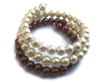 Ombre Pearl Wrap Bracelet, White Ivory Brown Ombre, Memory Wire Formal Bracelet, Stacked Faux Pearl Bracelet