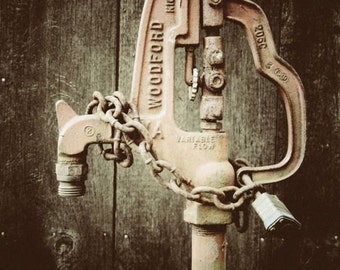 Antique Water Pump - Wall Art - Historic - Rustic Art Photography - Industrial Art - Weathered Old Water Pump - Fine Art Photograph