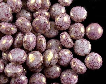 30pcs Czech Glass beads PRECIOSA Candy™  8mm 2 Hole,  Alabaster Violet Terracotta (CN004)
