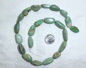 """16"""" Genuine Large Turquoise Smooth Beads Full Strand Oval Rectangle Shape 20 mm long for Bracelet or Necklace or Earrings Green 20mm"""