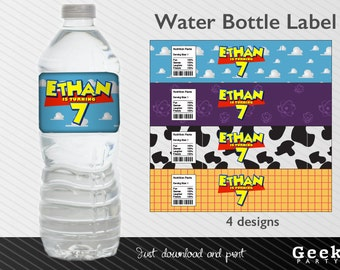 Toy Story Style Water Bottle Label - Printable