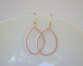 Copper Czech Glass Beaded Teardrop Earrings