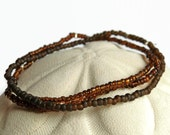 3 seed bead bracelets, brown stretch bracelet, boho, stack bracelet, seed bead brown