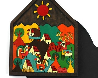 Colorful El Salvador Countryside Trivet Hot Plate Wall Hanging