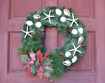 Nautical Christmas Wreath- Beach Decor- Seashell Christmas Wreath- Shell Wreath- Coastal Holiday Wreath- Starfish Wreath- Holiday Wreath
