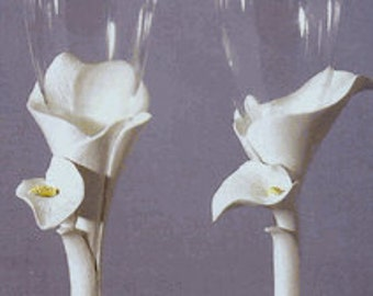 Calla Lily Wedding Anniversary Personalized Toasting Flutes Goblets Glasses Free Engraving!