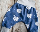 child or baby deer Harem trousers unisex, white harem pants and gray jersey cotton low crotch