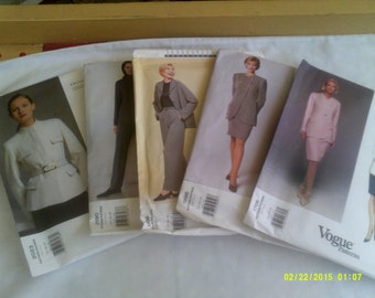 Five Vogue American Designer Patterns, Womens Suit Patterns, Designer Suit Patterns, Vogue Patterns 14 thru 16, Sewing Patterns 14