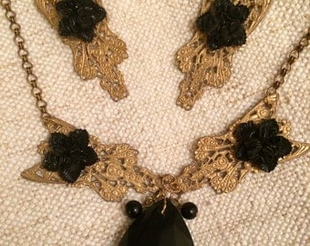 Vintage Vamp! Stunning Brass Filigree  with Black Faceted Glass Drop & Lucite Flower Necklace and Earrings.