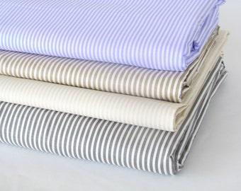 Stripe Cotton Fabric, Super Wide Cotton Fabric, purple mocha off white gray stripe cotton fabric, by the Yard