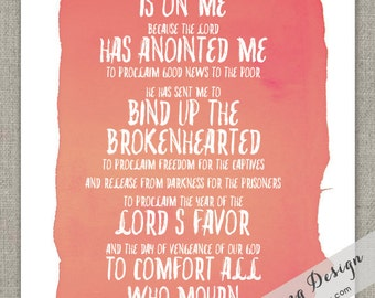 8x10 // Isaiah 61:1-2 // Year of the Lord's Favor // Watercolor Print // Graphic Art Print // Summer // Gift Print