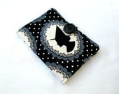 Witch Silhouette Tea Wallet - Tea Bag Wallet Black White Gray Halloween Witch Polka Dot
